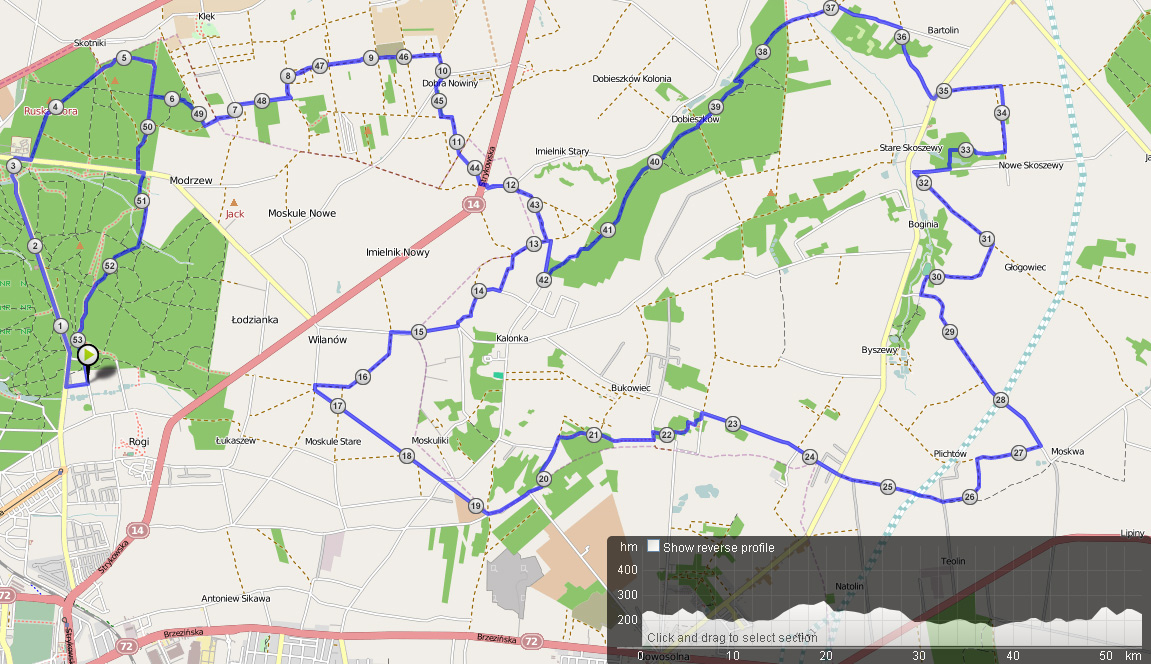 Trasa Nieoficjalnego Maratonu - 2011 i 2012